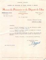 4-1708    Facture  1945 MAISON DU PRISONNIER ET DU DEPORTE DE L AIN A BOURG EN BRESSE - M. RIGOLLET A AMBERIEU EN BUGEY - France