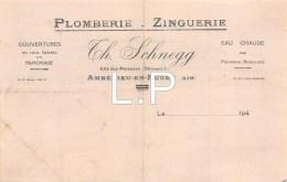 5-1645   Facture  1940  PLOMBERIE CH. SCHNEGG A AMBERIEU EN BUGEY - France