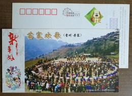Group Dancing,China 2006 Guizhou Danzhai Miao Ethnic Minority Folk Art Advertising Pre-stamped Card - Baile