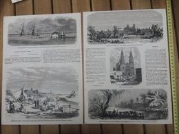 1865 GRAVURE SAUVETAGE DE LA GOELETTE EMMA STEAMER FLORIDA NIGER BAIE DE FOE LAGOS - Vieux Papiers
