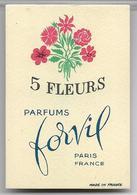 Ancienne Carte Parfumée 5 FLEURS De Forvil - Perfume Cards
