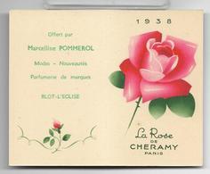 Ancienne Carte Et Calendrier Parfumé De 1938 LA ROSE De Cheramy . - Perfume Cards