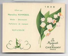 Ancienne Carte Et Calendrier Parfumé De 1938 LE MUGUET De Cheramy . - Perfume Cards