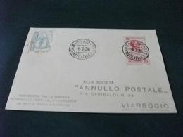 STORIA POSTALE  FRANCOBOLLO ITALIA REGNO BELLINI  III MOSTRA FILATELICA MILANO SOCIETA' ANNULLO POSTALE VIAREGGIO - Manifestazioni