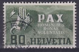 SUISSE 1945:  Série 'PAX', Le 80c  Vert-olive Foncé,  (ZNr 269), Oblitéré , Bonne Cote, TTB - Schweiz