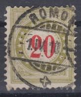 SUISSE TAXE 1908 :   Le 20c Olive Brunâtre Au Type II,  (ZNr 26BK), Oblitéré CAD 'ROMONT 1910' - Portomarken