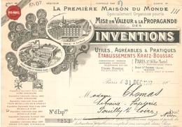FACTURE 1907 Éts KRATZ BOUSSAC 14 RUE MARTEL PARIS 10 ème - INVENTIONS & PROPAGANDE - USINE PONT SAINT PIERRE - POUILLY - France