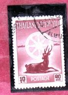 THAILANDE THAILAND TAILANDIA 1957 BIRTH OF BUDDHA 2500th ANNIVERSARY DHARMACHAKRA DEER 10s USATO USED OBLITERE' - Tailandia