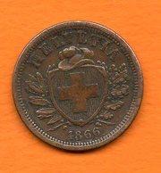 SUISSE - 1866 B - 2  Rappen En Bronze -  Cat World - KM= 4.1   Bon état - Suisse