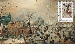 D34955 CARTE MAXIMUM CARD 2010 NETHERLANDS - AVERCAMP - WINTER LANDSCAPE SKATING CP ORIGINAL - Art
