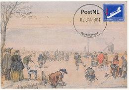 D34956 CARTE MAXIMUM CARD FD 2014 NETHERLANDS - SKATING WINTER CP ORIGINAL - Winter (Varia)