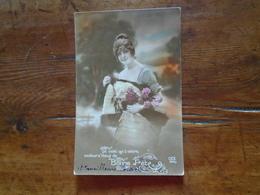 """Silhouettes De Femme """" Carte De Bonne Année Pour Un Poilu En 1917 """" - Silhouettes"""