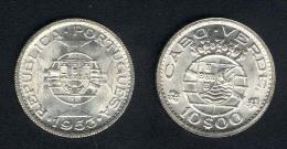 Cap Verde, 10 Escudos 1953, Silber, UNC - Cape Verde
