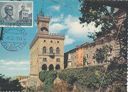 D34959 CARTE MAXIMUM CARD 1959 SAN MARINO - PALACE OF GOVERNMENT CP ORIGINAL - Architecture