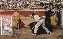 D34961 CARTE MAXIMUM CARD 1960 SPAIN - BULL FIGHTING FOLKLORE CP ORIGINAL - Cultures
