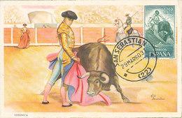 D34962 CARTE MAXIMUM CARD 1960 SPAIN - BULL FIGHTING FOLKLORE CP ORIGINAL - Cultures