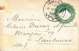 ENTIER -  POUR LA SUISSE - 2 MILLIEMES VERT - 1896 - 1866-1914 Khédivat D'Égypte