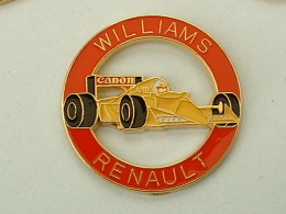 Pin'S FORMULE 1 -  WILLIAMS RENAULT - CAMEL - CANON - CERCLE ROUGE - VOITURE JAUNE - F1