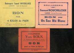 LOT-ET-GARONNE. LOT DE 3 BONS CARTON BOULANGERIE ROUX A GAZELLE-VIRAZEIL ET BOUCHILLOUX A LAUZUN - Bonds & Basic Needs