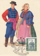 D34975 CARTE MAXIMUM CARD 1967 POLAND - FOLKLORE COSTUMES CP ORIGINAL - Costumes