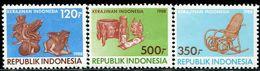 AC1120 Indonesia 1988 Wooden Crafts 3V MNH - Indonésie