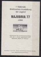 Germany 1977 Najubria 77 M/s Blackprint (small Wrinkle In Corner) ** Mnh (40433D) - [7] West-Duitsland