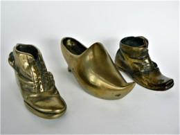 LOT DE 3 CHAUSSURES MINIATURES DE COLLECTION (39) Bronze Doré - Miniatures Décoratives