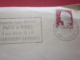 Lettre Oblitération Mécanique (flamme) Nouvelle Ligne Aérienne Paris & Nîmes à 1 H De Clermont-Ferrand 1968  Marcophilie - Poststempel (Briefe)