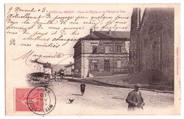 """2495 - Sivry En Meuse ( 55 ) - Place De L'Eglise Et De L""""Hotel De Ville - Libr. Lecrique-Dominé - - Attelages"""