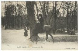 16e PARIS MONDAIN - PROMENADE AU BOIS De Boulogne Cavalière Cheval élégante équitation - Parks, Gardens