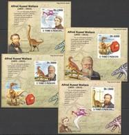 A202 !! IMPERFORATE 2009 S.TOME E PRINCIPE FAUNA DINOSAURS WALLACE 4 LUX BL MNH - Briefmarken