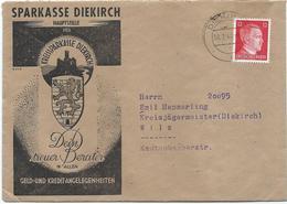 Mi. 827 (Adolf Hitler) - Auf Brief Sparkasse Diekirch - Stempel Diekirch C - 08-07-1944 Nach Wiltz, Kreisjägermeister - 1940-1944 German Occupation