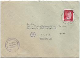Mi. 827 (Adolf Hitler) - Auf Brief Stempel Luxemburg 2 D - 21-07-1944 Nach Wiltz, Kreisjägermeister - 1940-1944 German Occupation