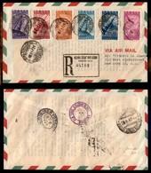 POSTA AEREA  - 1947 (1 Agosto) - Roma New York- Cinquantenario Della Radio (136/141 Aerea) - Aero-gramma Raccomandato FD - Francobolli
