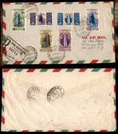 POSTA AEREA  - 1948 (1 Marzo) - Roma New York - S.Caterina (574/577 + Aerea 146/147) - Aerogramma Raccomandato FDC - Francobolli
