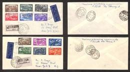 POSTA AEREA  - 1948 (1 Luglio) - Trieste New York - Risorgimento (580/591) - Su 2 Aerogrammi Raccomandati FDC - Francobolli