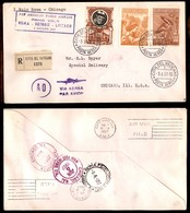 POSTA AEREA  - 1957 (3 Giugno) - Vaticano Chicago - Aerogramma Raccomandato - Francobolli