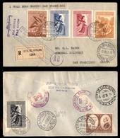 POSTA AEREA  - 1957 (4 Ottobre) - Volo Transpolare Vaticano Los Angeles - Aerogramma Raccomandato - Francobolli