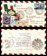 POSTA AEREA  - 1958 (3 Settembre) - Volo Gronchi - Vaticano (Roma) Brasile - Aerogramma Raccomandato - Francobolli