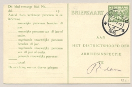 Nederland - 1940 - 3 Cent Lebeau, Arbeidslijstkaart G15b Van Schiedam Naar Rotterdam - Postal Stationery