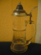 Hoher Bierkrug Mit Zinndeckel - Olivenschliff (611) - Glas & Kristall