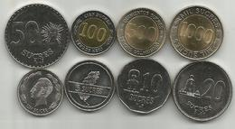 Ecuador 1988/97. Set Of 8 Coins 1 - 5 - 10 - 20 - 50 - 100 -500 - 1000 Sucre Sucres All High Grade - Ecuador