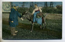 ANES Soigne L'Ane En Pensant à Moi Dialogue Paysan Campagne 1906 Timb   /D03-2016 - Donkeys