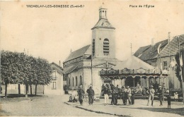 RARE TREMBLAY LES GONESSE PLACE DE L'EGLISE ET LE MANEGE ET POMPIERS  EDITION VEIVAL - France