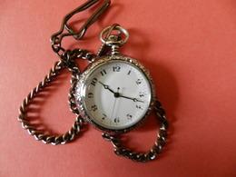 Montre Gousset Chatelaine Quartz - Verso Argentée Ciselée Fleurs - Chiffres Arabe - Horloge: Zakhorloge