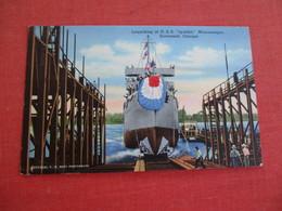 "Launching Of USS ""Symbol"" Minesweeper Savannah Georgia  Free Frank Cancel US Navy  Ref 3059 - Warships"
