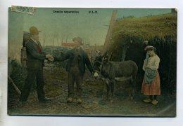 """ANES Paysan Et Vente De L'Ane """" Cruelle Séparation """" 1906 écrite Timbrée       /D08-2016 - Donkeys"""