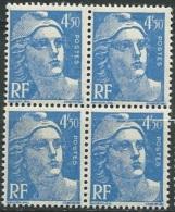Type  Gandon    Yvert N° 718 A **   Bloc De 4  Ava 24411 - 1945-54 Marianne De Gandon
