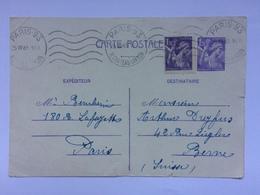 FRANCE - 1945 Carte Postale - Paris To Berne 1F20c Uprated - France