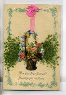 FANTAISIE  Collage Chromo Et Ajoutis Vegetaux Ruban Rose Mon Plus Beau Souvenir 1910 /D09-2016 - Non Classés